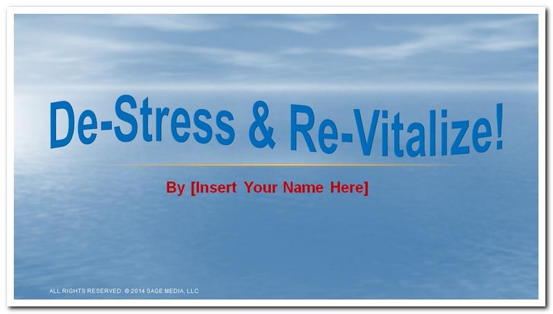 De-Stress and Revitalize PowerPoint Presentation Jumpstart Kit - Dr