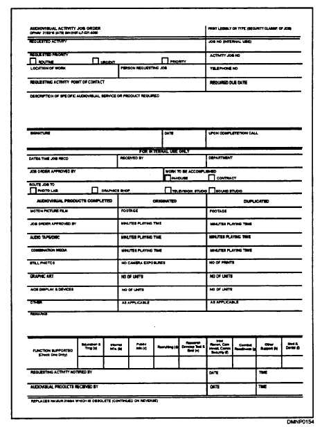 Figure 127-Job order - work order form