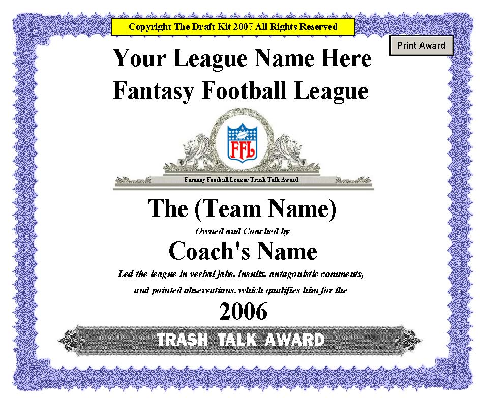 Fantasy Award Maker Sample Page - Award Maker