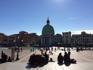 First view of Venice and the Grand Canal coming out of the train station.