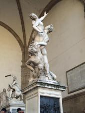 The Rape of the Sabine Women by Giambologna, in the Loggia dei Lanzi in Florence.