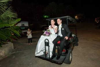 Getting away on our golf cart ride to the back of the venue where the honeymoon suite was.