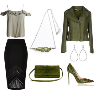 Twisted peridot necklace inspired outfit