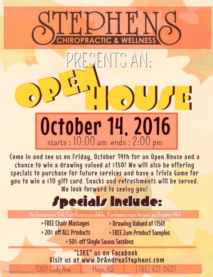 FALL OPEN HOUSE - Stephens Chiropractic  WellnessStephens - open house flyer
