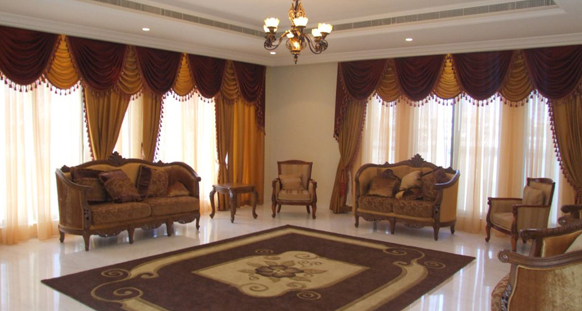 Sofa Soft Drapes Interio,hotel Curtains Works In Dubai, Soft