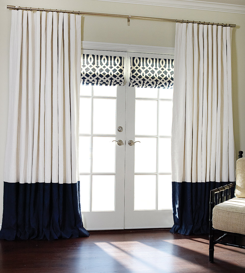105 Inch Curtains Bordered Linen Linen Custom Drapes