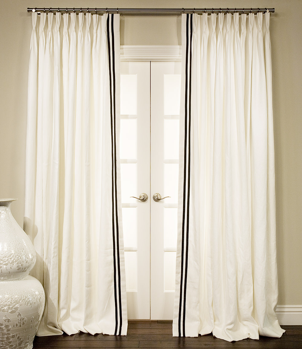Ribbon Trim Curtains Grosgrain Ribbon Trimmed Drapes