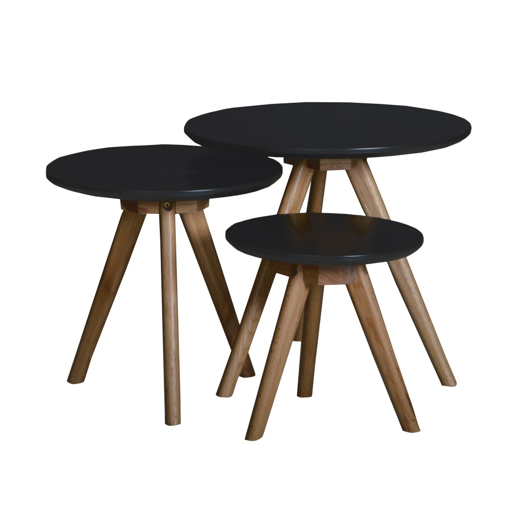 Table Scandinave Noire Lot De 3 Tables Basses Bois Scandinaves Drawer Soren