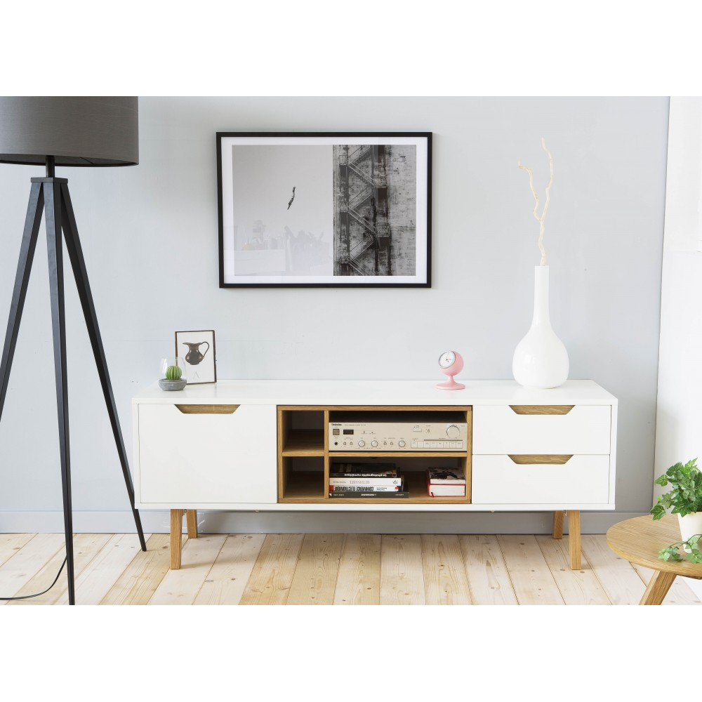 Meuble Tv Blanc Chene Meuble Tv Design Scandinave Tally 2 Portes 1