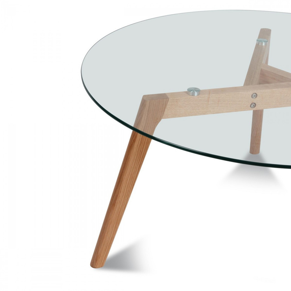 Table En Verre Scandinave Table Basse Ronde Verre Et Bois ø90cm Drawer Ingmar