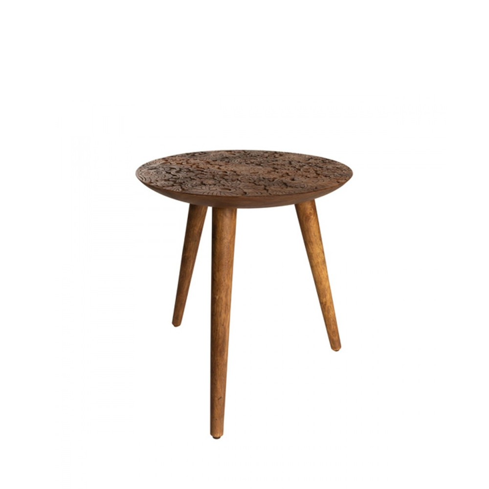 Table En Teck Ronde Table D Appoint Ronde En Bois Gravé Dutchbone By Hand