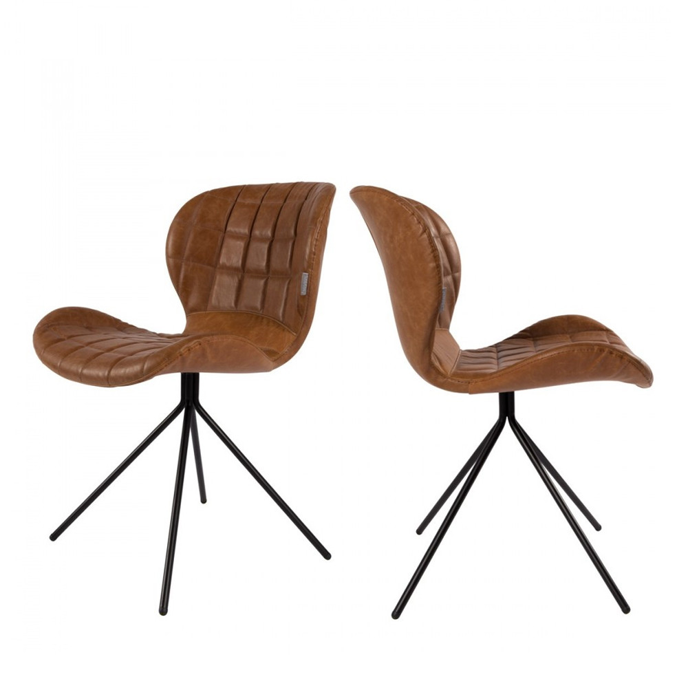 Chaise En Cuir Marron Lot De 2 Chaises Design Omg Skin Zuiver