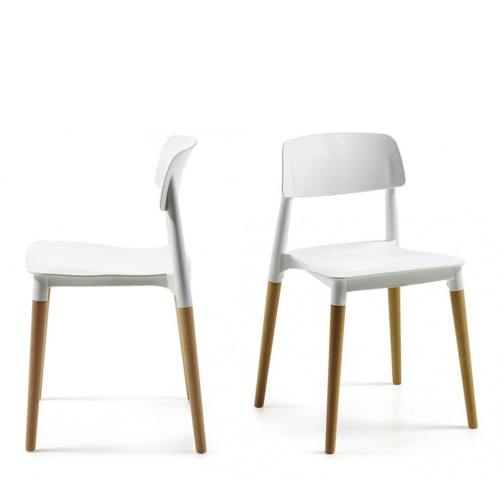 Chaises Plastiques Blanches Glamwood 2 Chaises Design