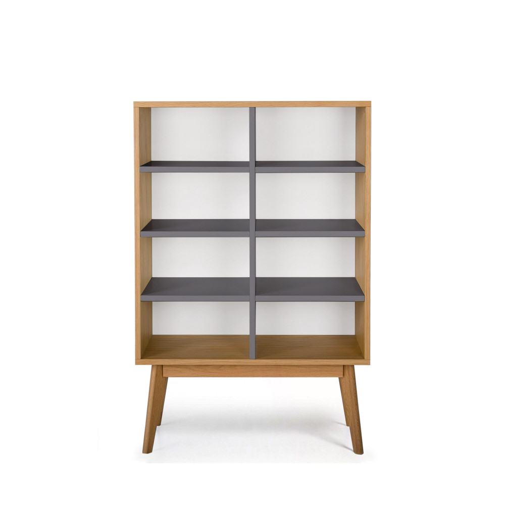 Rangements Bibliotheque Bibliothèque Scandinave En Bois 8 Niches Skoll By Drawer Fr