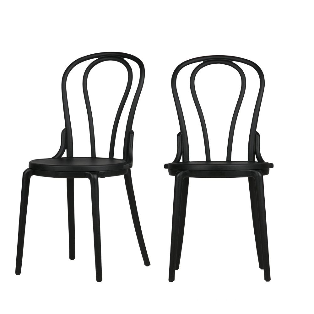 Chaise Bistrot Noire Bibi 2 Chaises Style Bistrot