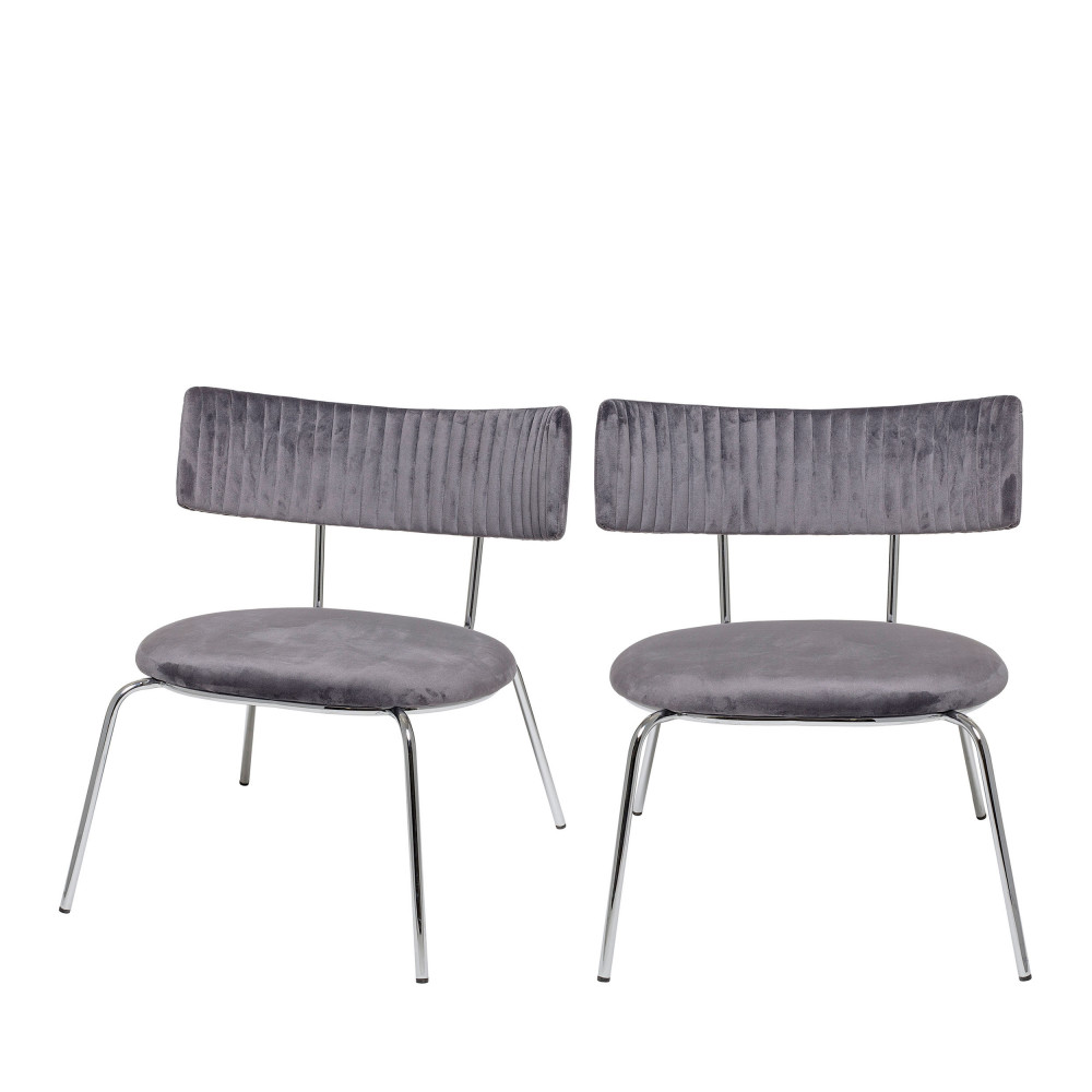 2 Tabourets Wave 2 Chaises Lounge En Velours Bloomingville Wave