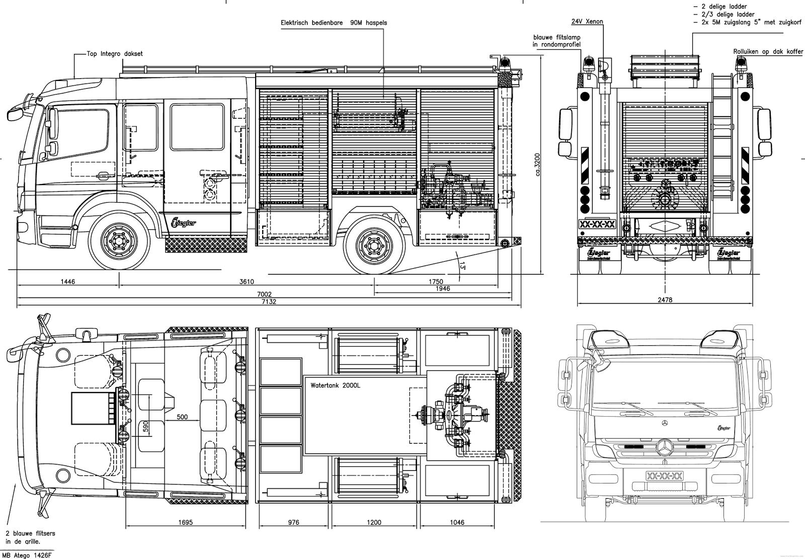 Mercedes Benz Atego Firetruck Blueprint Download Free