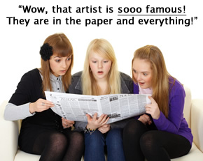 Three girls looking at a newspaper astonished as they read about an artist
