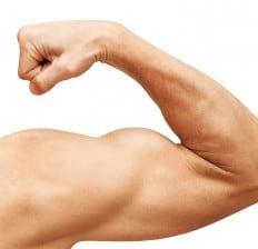 man flexing muscle bicep