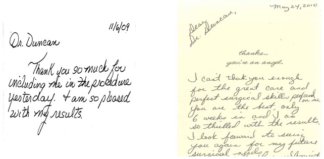 Testimonials  Reviews for Dr Diane Duncan, MD Plastic Surgical - thank you letter to doctor