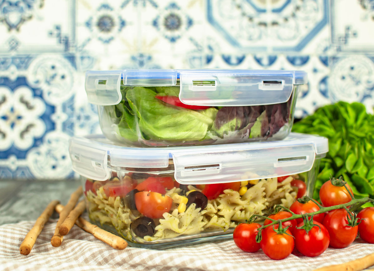 Vorratsdosen Glas Stapelbar 2er Set Frischhaltedosen 1,5l+800ml Glas Lunchbox