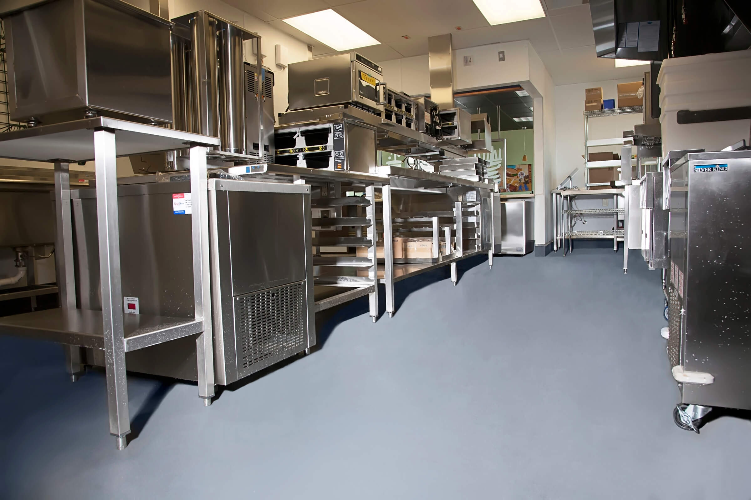 Garage Floor Epoxy Options Commercial Kitchen Flooring Epoxy Stained Concrete For Restaurants