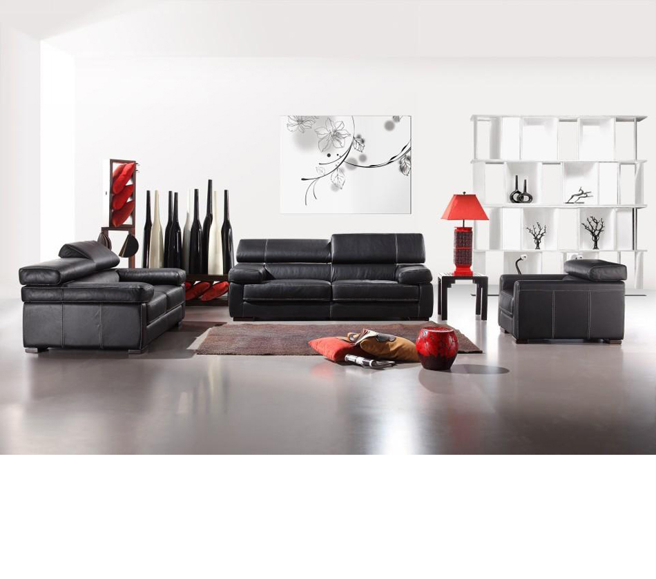 Dreamfurniture Com Divani Casa 381 Modern Italian Leather Sofa Set