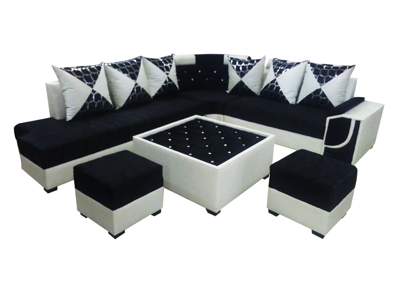 Sala Set L Style Felicite L Shape Sofa Set Center Table And 2 Puffy