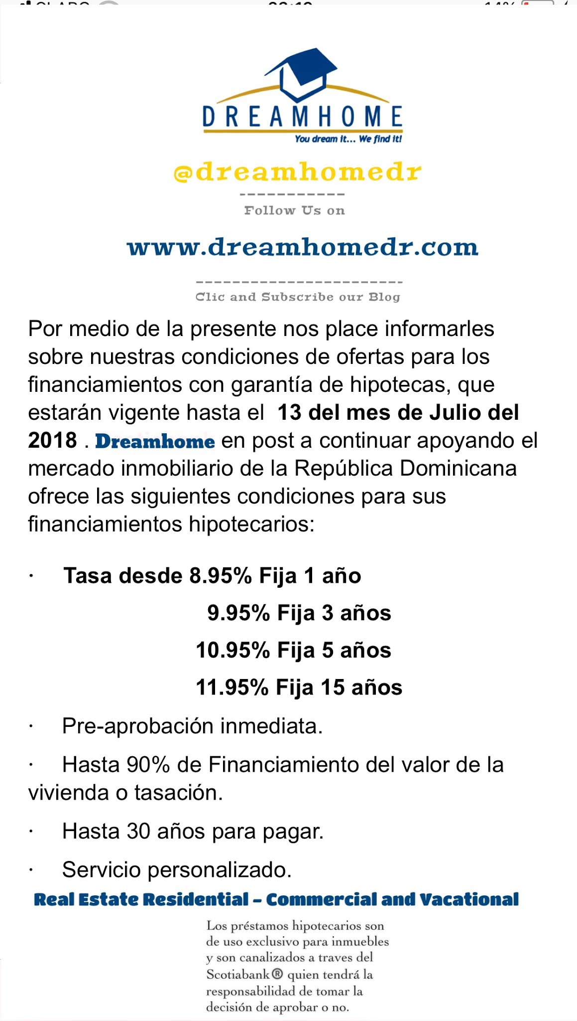 Condiciones Hipotecas Oferta De Financiamiento