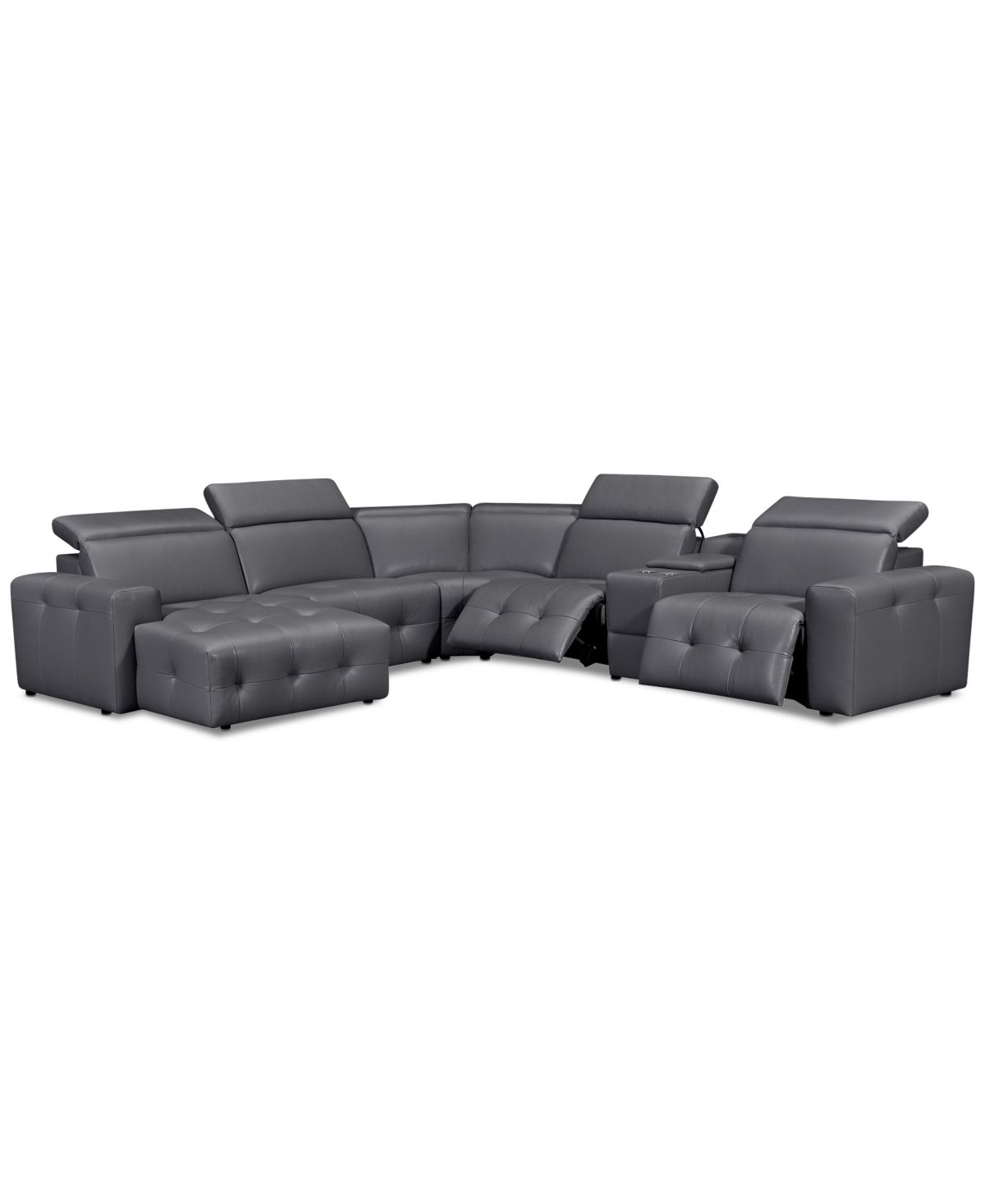 Haigan 6 Pc Leather Chaise Sectional Sofa With 2 Power Recliners Created For Macy S Dreamhomepop Com Home