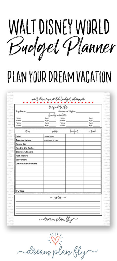 Walt Disney World Budget Planner - How much will this cost? - Dream