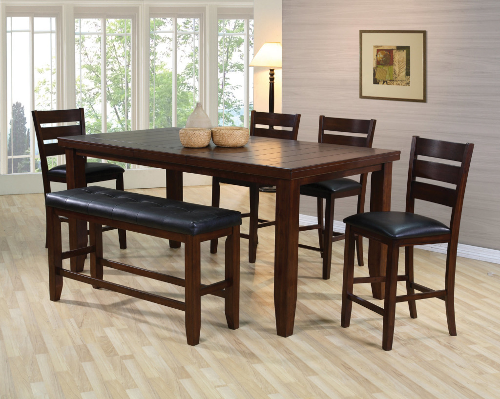 unique modern espresso counter high dining table w4 chairs and bench espresso kitchen table set UNIQUE Espresso Counter High Dining Table w 4 Chairs And BENCH Dream Rooms Furniture