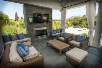 Covered Patio Designs With Fireplace The Cedar Ceiling Of ...