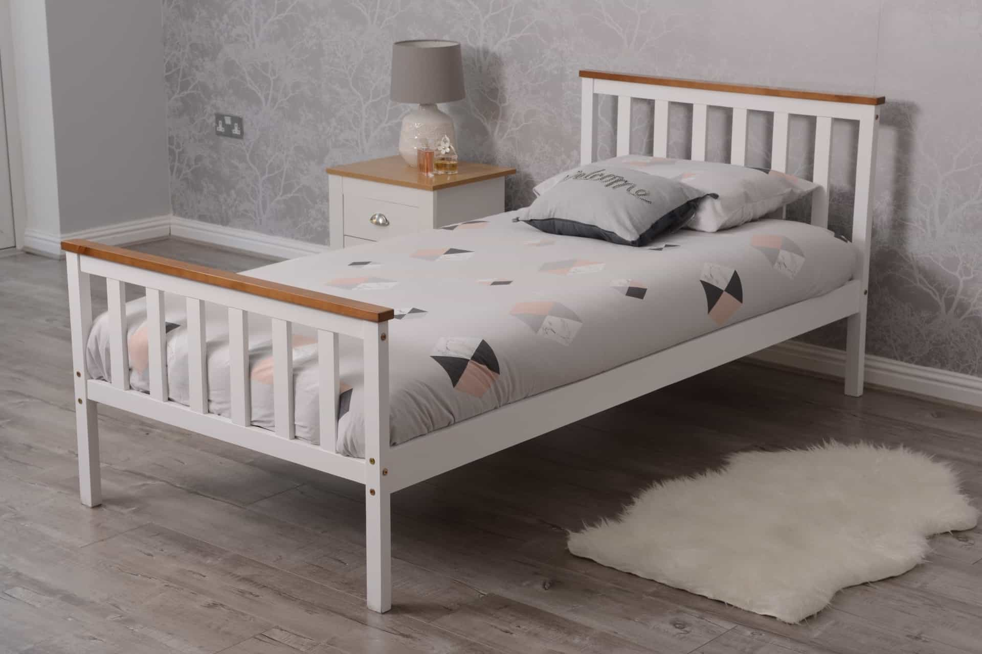 What Is The Length Of A Single Bed Single Bed Pine Wood Bed White With Oak Top With Memory Foam