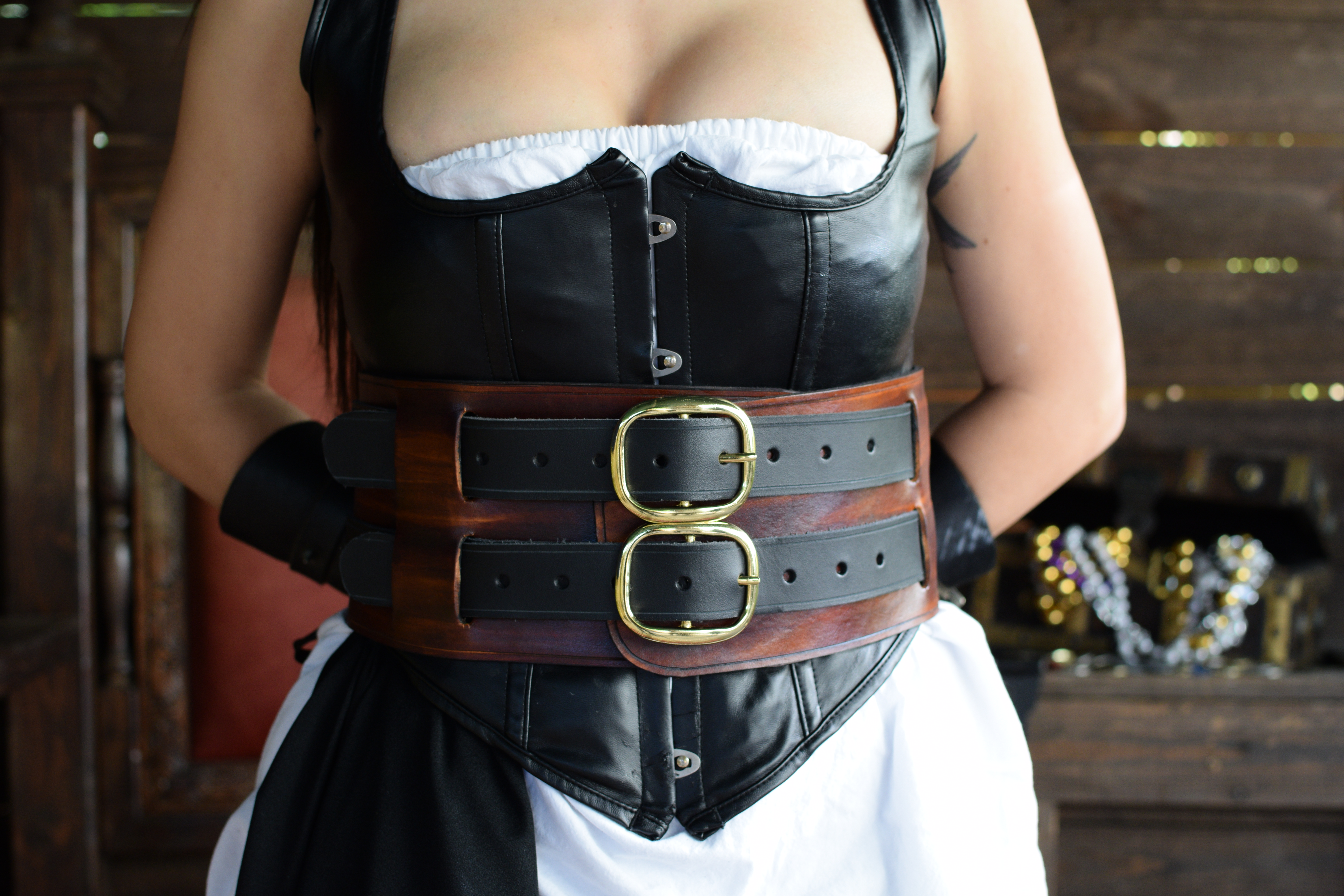 The Wench Leather Pirate Warrior Corset Belt Dredmor
