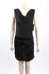 Adrianna Papell Black Shimmer Cocktail Dress Size 12