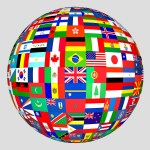 World Globe With Flags