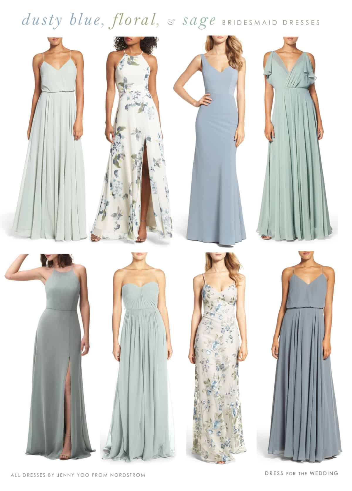 Mix And Match Light Blue Floral And Sage Green Mix And Match Bridesmaid