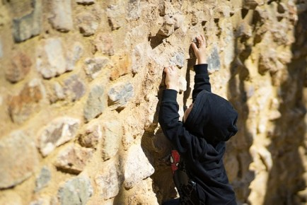 Young boy rock climbing to represent the various developmental stages of childhood