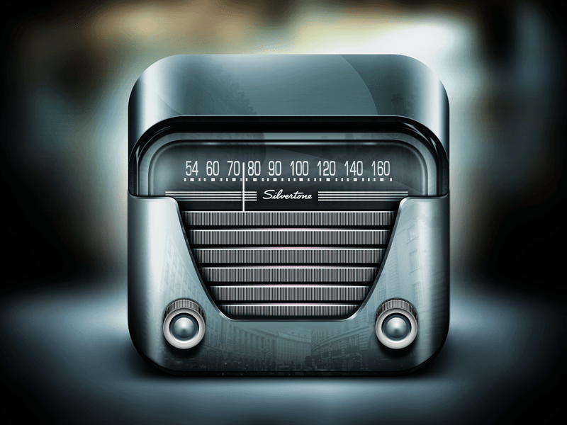 silvertone radio 30 Highly Skeuomorphic Icon Designs With Incredible Detail