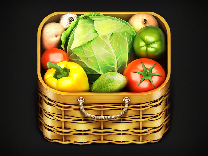 basketicon1024finaldribbble 25 Gorgeous 3D Fruit & Vegetable Illustrations