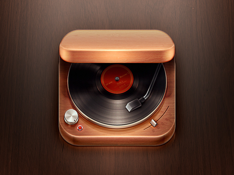 record player hres 30 Highly Skeuomorphic Icon Designs With Incredible Detail