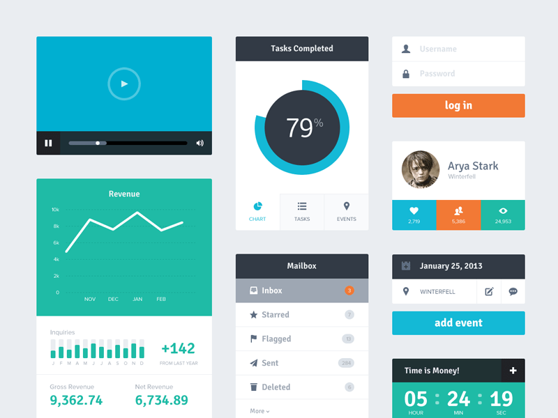 6 Free Flat UI Kits | PSD Downloads