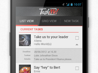 taskme shot Android Apps Using Holo Theme | Concepts