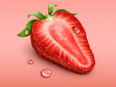 strawberries 25 Gorgeous 3D Fruit & Vegetable Illustrations