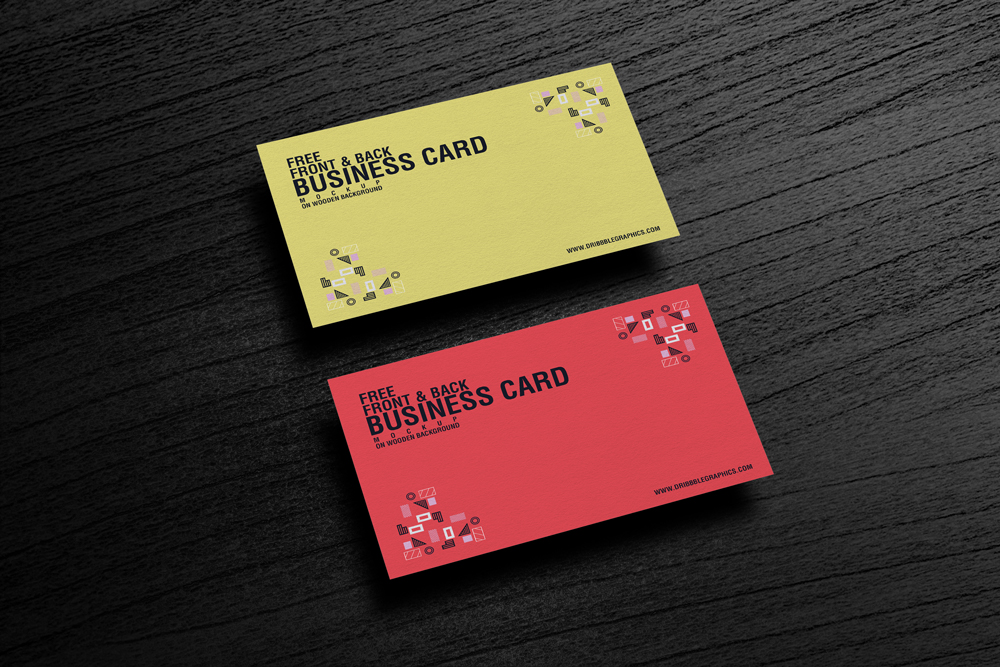 Free Front  Back Business Card Mockup on Wooden Background