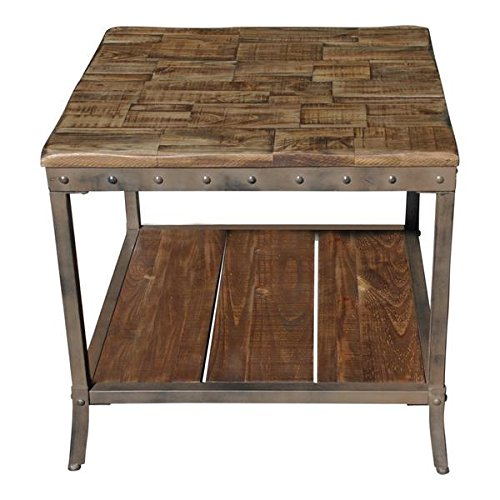 Rustic vintage wooden metal side end sofa table country industrial