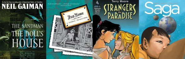 Sandman Fun Home Stranges in Paradise Saga covers