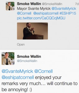 Mayor Svante Myrick twitter exchange