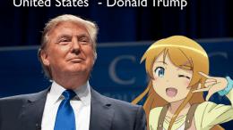 Trump with Anime Girl at Rally